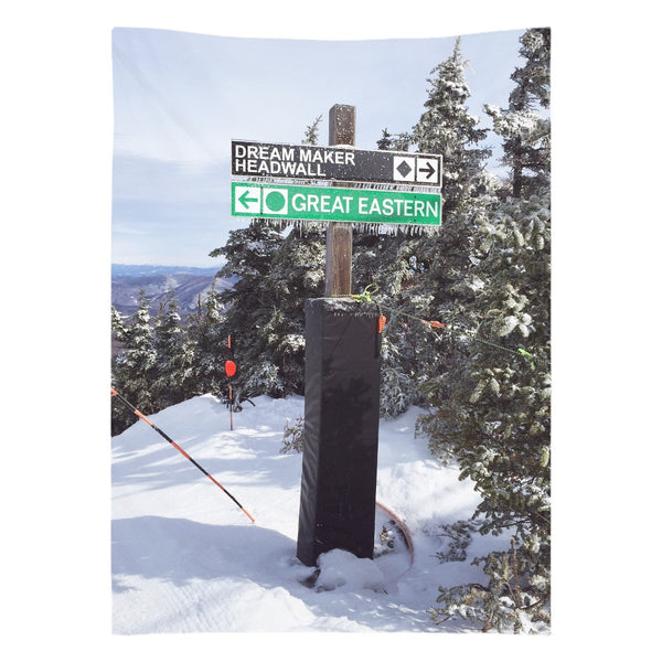 Skiing Trail Signs - Wall Tapestry