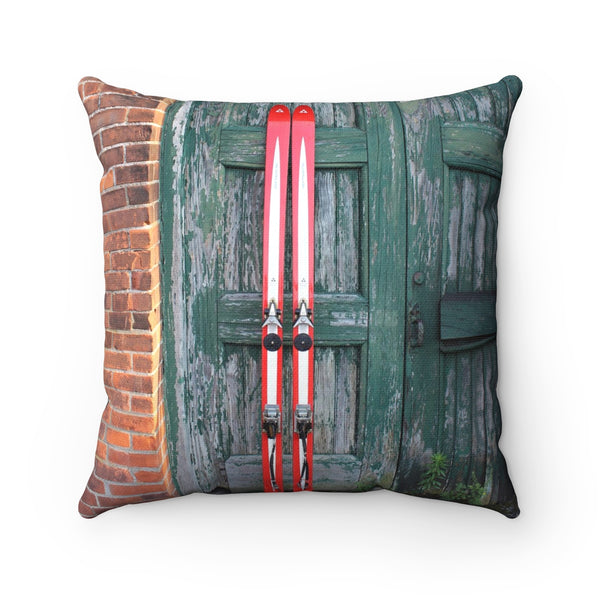 Red Skis Green Door - Throw Pillow