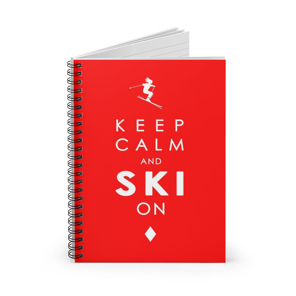 Spiral Notebook - Keep Calm and SKI on - Red