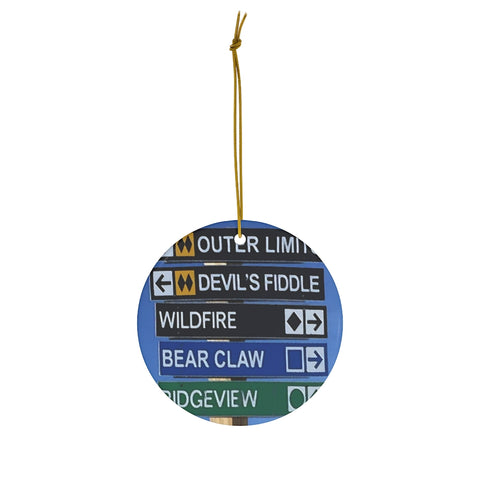 Killington Trail Signs - Round Ceramic Ornament