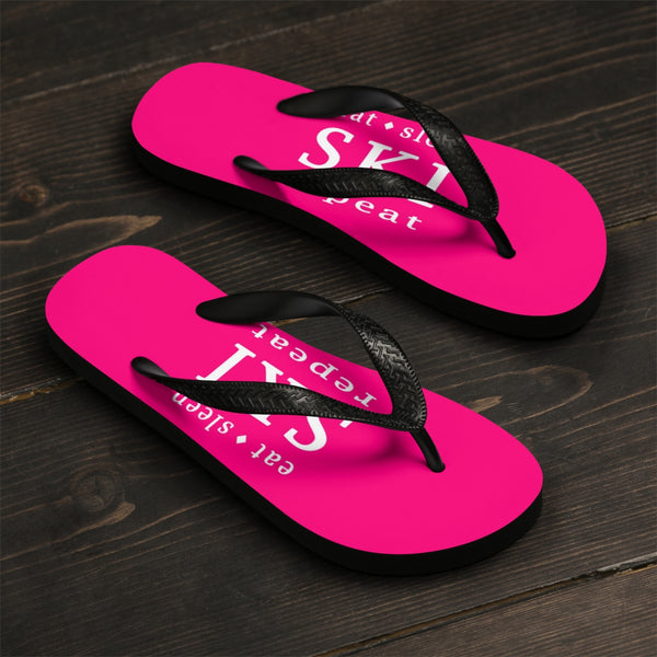 Unisex Flip-Flops - Eat, Sleep, SKI, Repeat - Pink