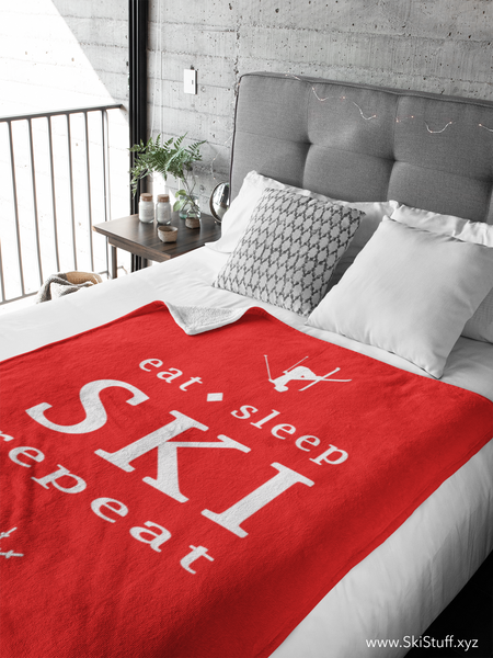 Eat Sleep SKI red - Throw Blanket