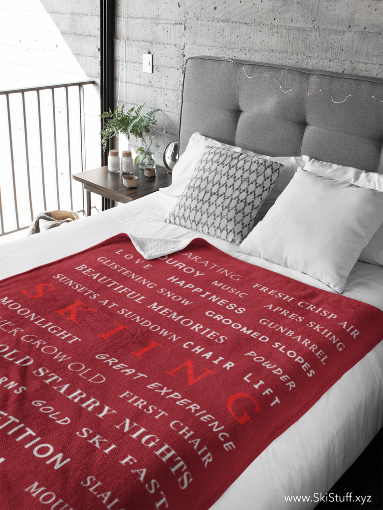 Skiing Memories Burgundy - Throw Blanket