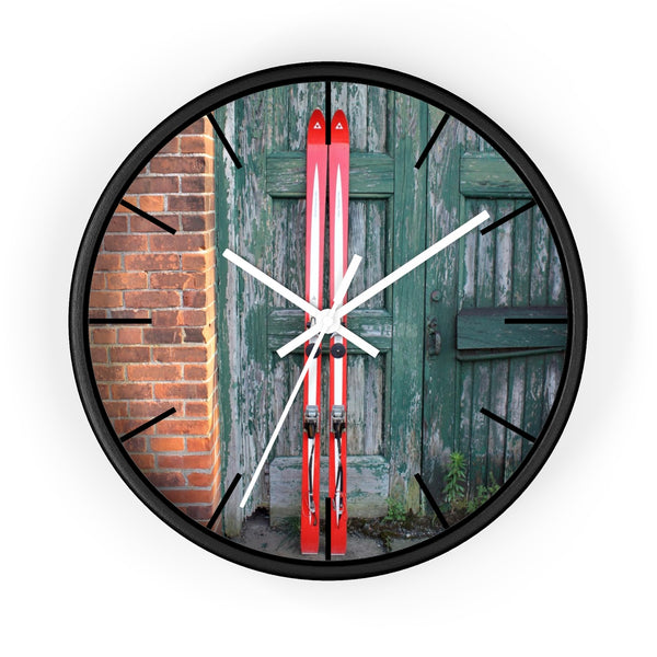 Wall Clock - Red Skis and Green Door