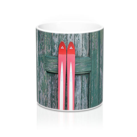 Red Skis and Green Door - Mug