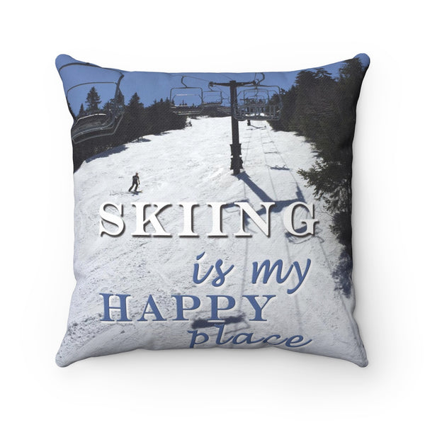 Skiing Is My Happy Place - Throw Pillow