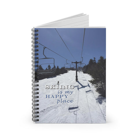Skiing is my Happy Place - Spiral Notebook