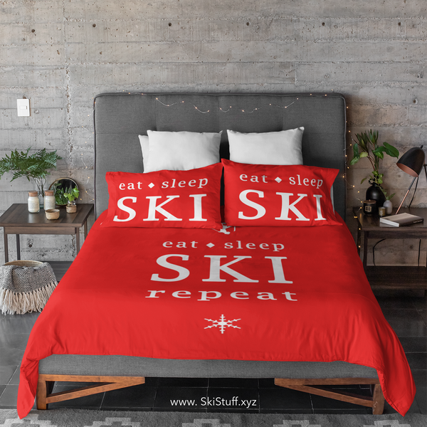 Eat Sleep SKI - Red - Duvet Cover