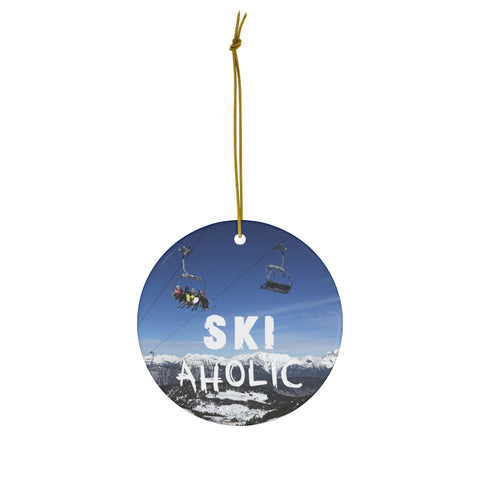 Ski Aholic - Round Ceramic Ornament