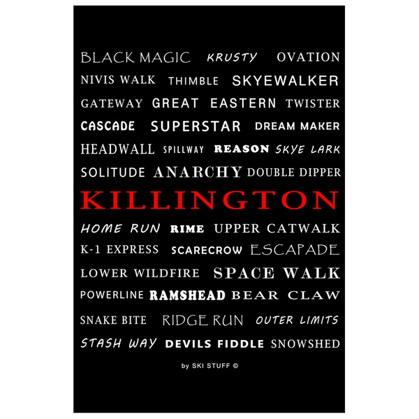 Killington Trails Black - Poster