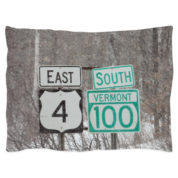 Vermont Road Signs - Pillow Sham