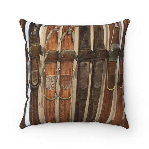 Vintage Wooden Skis - Pillow