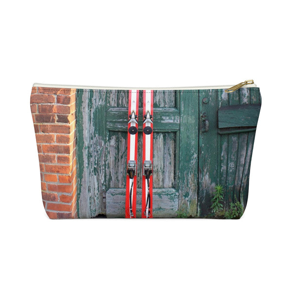 Red Skis and Green Door - Accessory Pouch w T-bottom