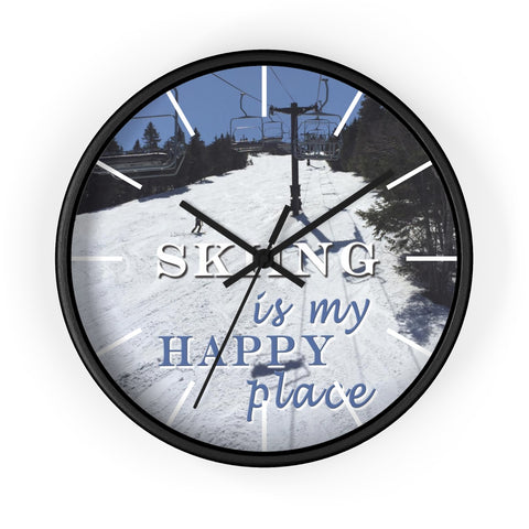 Wall Clock - Skiing is My Happy Place