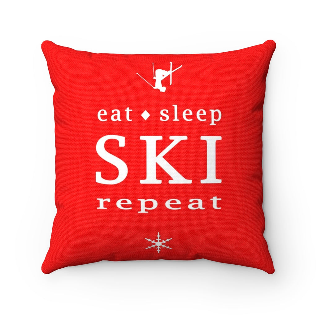 Eat Sleep SKI red - Throw Pillow