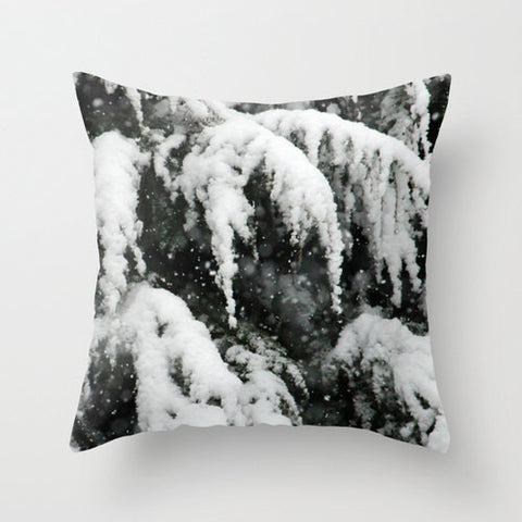 Fresh Snow on Pines, Pillow Cover
