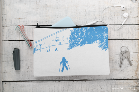 Little Skier Blue - Accessory Pouch w T-bottom