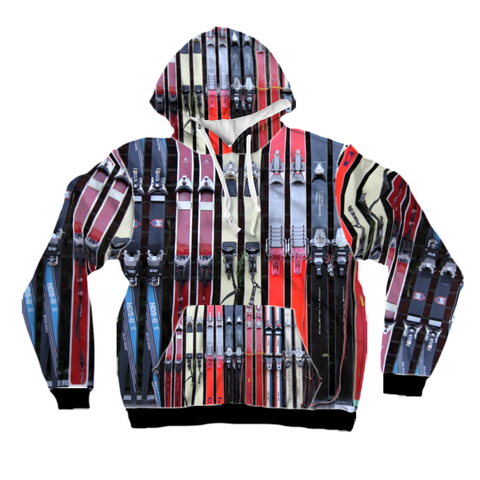 All-Over Print Pullover Hoodie - Vintage Skis