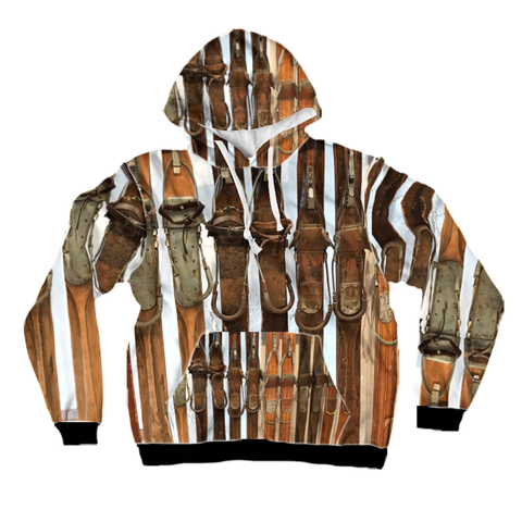 All-Over Print Pullover Hoodie - Vintage Wooden Skis