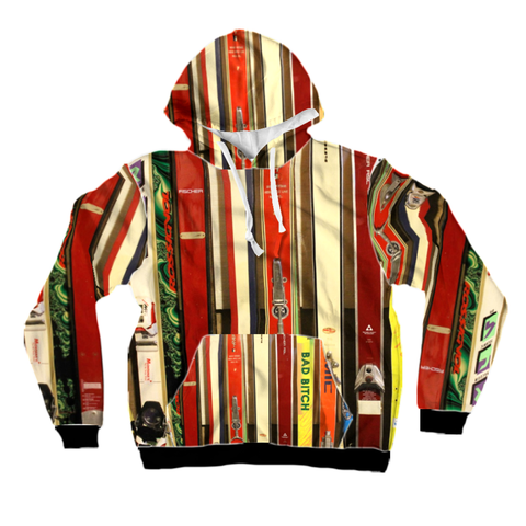 All-Over Print Pullover Hoodie - Skis and Bindings