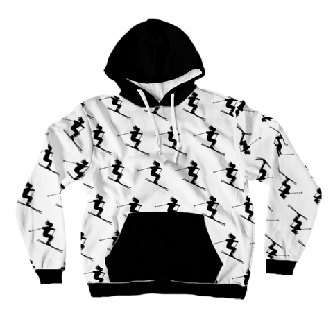 All-Over Print Pullover Hoodie - Skiers