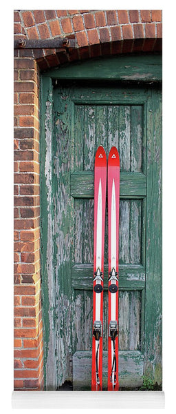 Red Vintage Skis - Yoga Mat