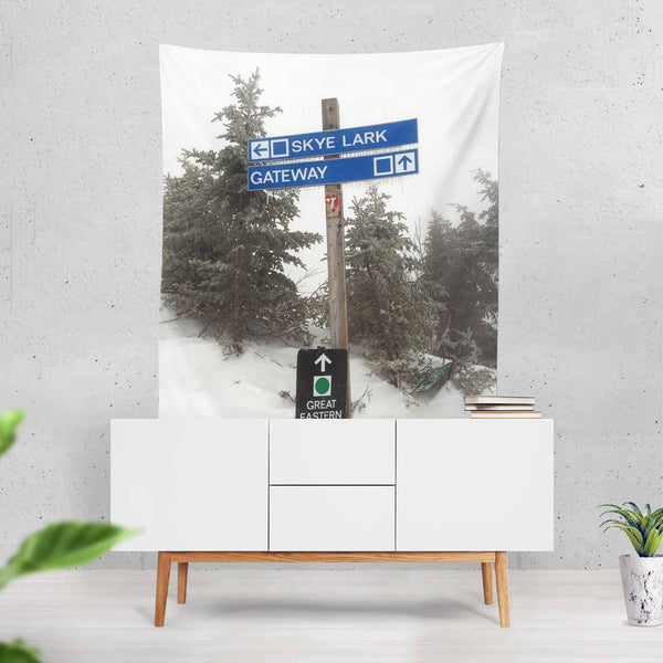 Ski Trail Sign - Wall Tapestry