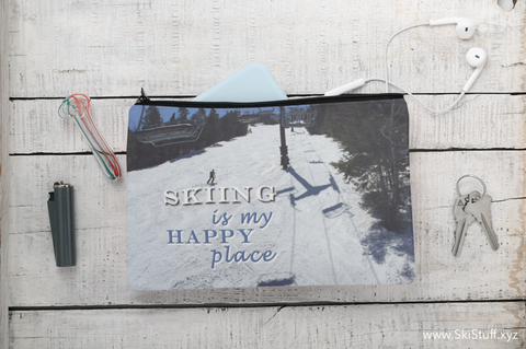 Skiing Is My Happy Place - Accessory Pouch w T-bottom