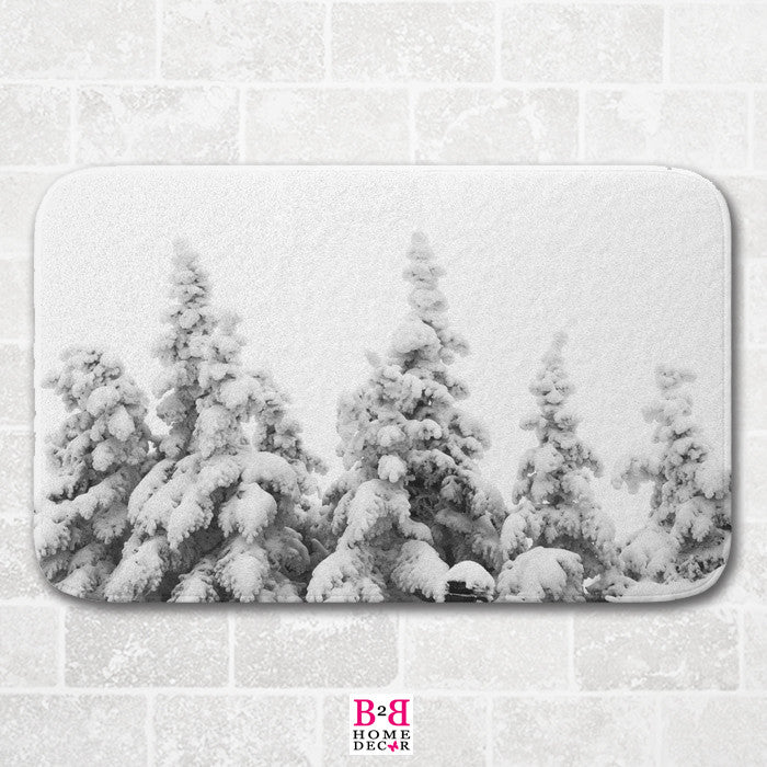 Snow Covered Pines - Bath Mat