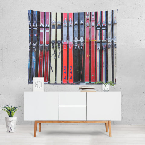 Vintage Skis - Wall Tapestry