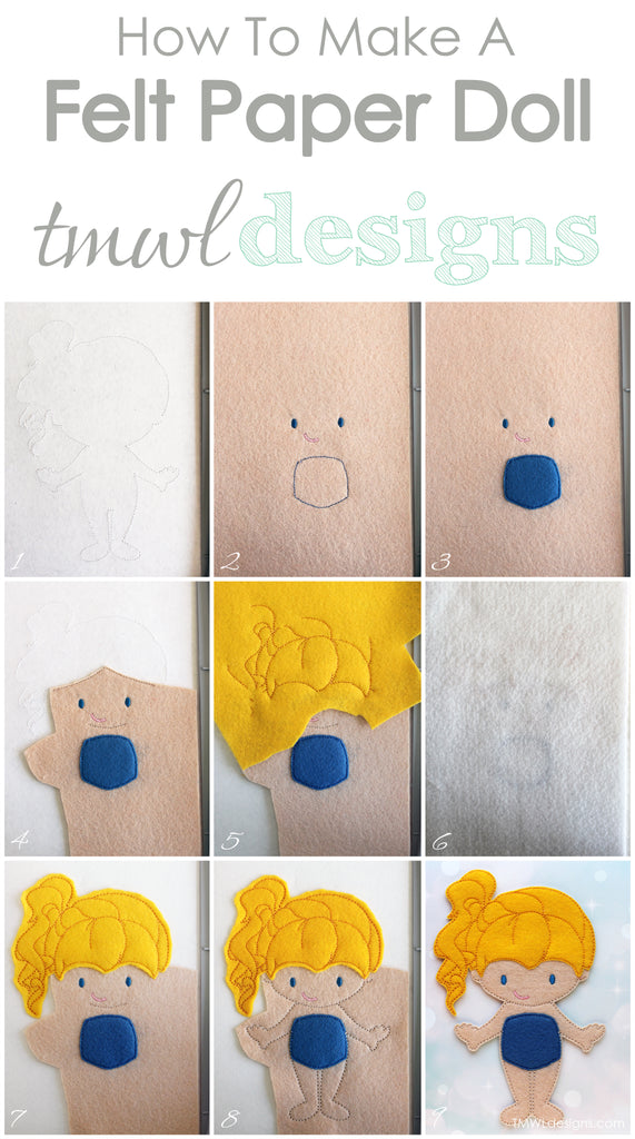 How To Make A Felt Paper Doll - Iris - TMWL Designs