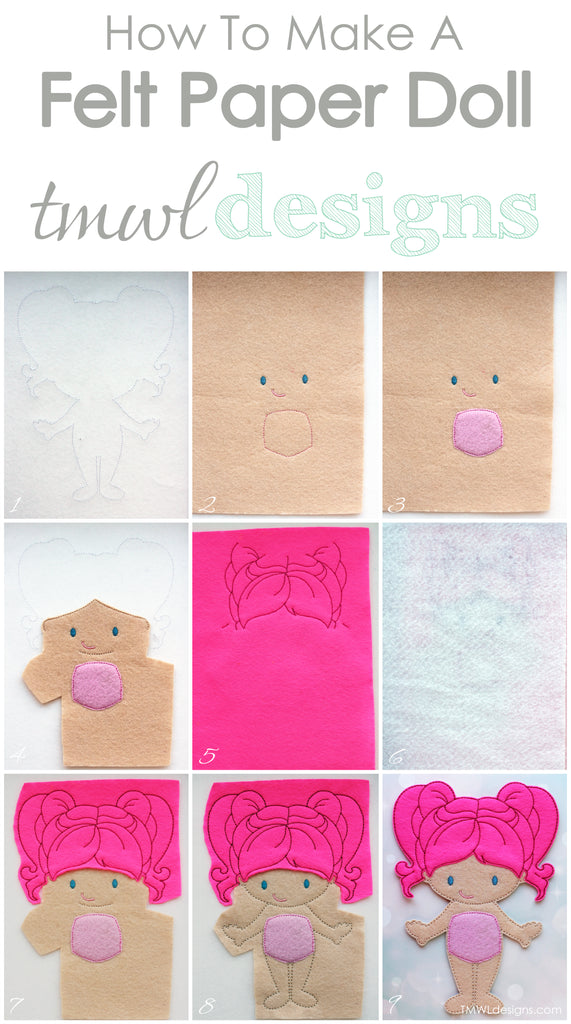 How To Make A Felt Paper Doll - Peony - TMWL Designs