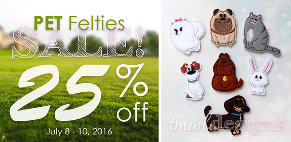 Pet Felties Sale 25% off - TMWL Designs