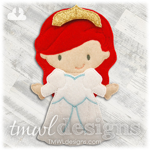 Seaside Wedding Dress Felt Paper Doll Outfit