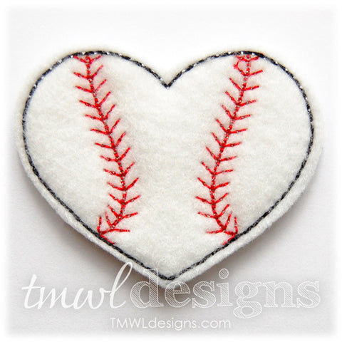 Baseball Heart Feltie