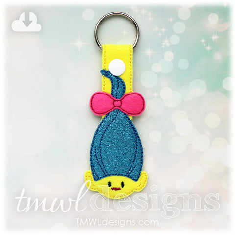 Bow Tied Hair Troll Key FOB