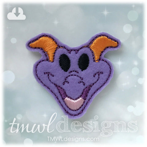 Purple Imagination Dragon Head Feltie