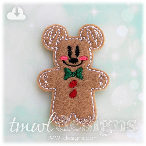 Mr Gingerbread Cookie Mouse Feltie