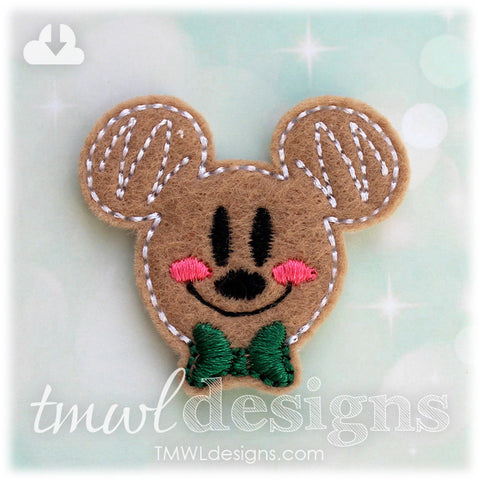 Mr Gingerbread Cookie Mouse Head Feltie