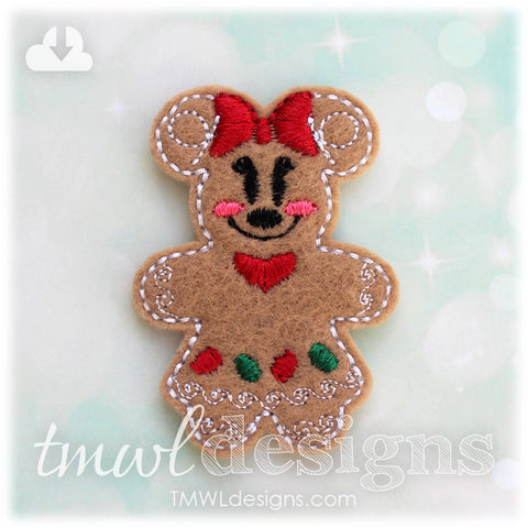 Mrs Gingerbread Cookie Mouse Feltie