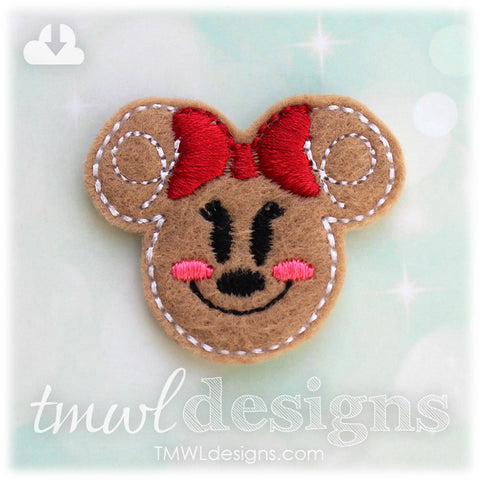 Mrs Gingerbread Cookie Mouse Head Feltie