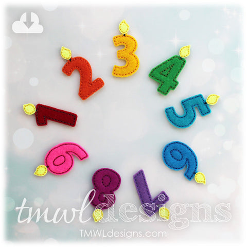 Number Candles Feltie Set