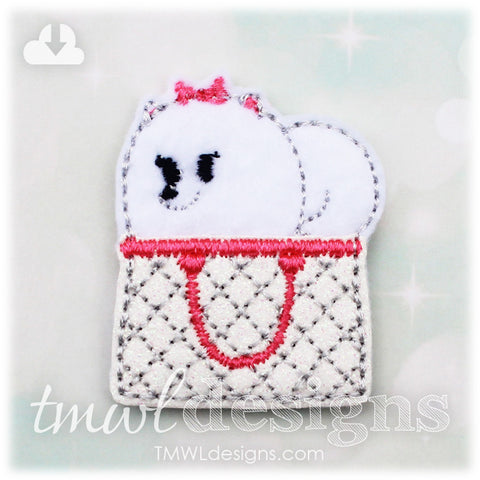 Pet Pomeranian in a Purse Feltie
