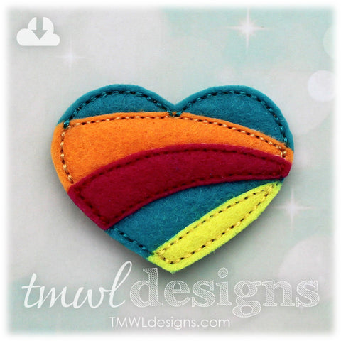 Rainbow Heart Feltie