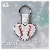 Baseball Heart Key FOB