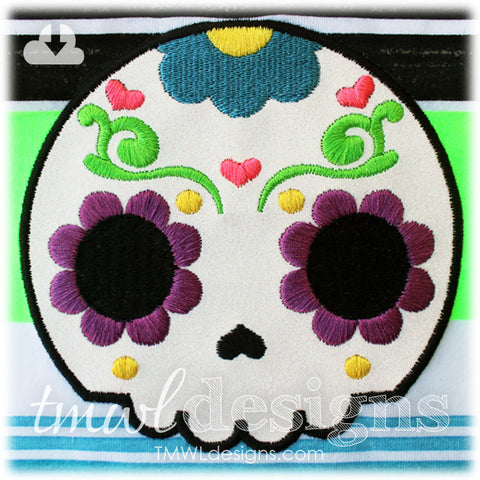 Sugar Skull Hearts Appliqué