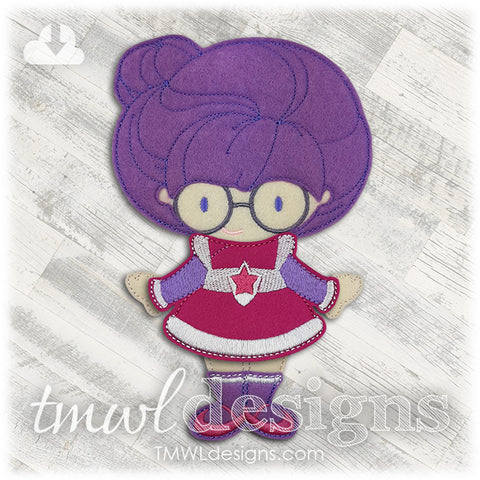 Space Violet Dress Felt Paper Doll Outfit