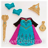 Coronation Dress Felt Paper Doll Outfit