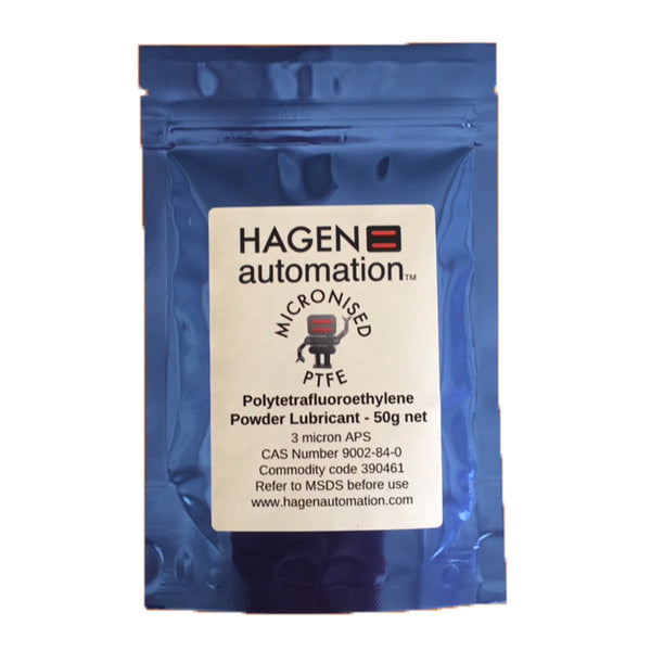 PFTE Powder lubricant 50g Hagen Automation for chain waxing Blue foil pack on white background
