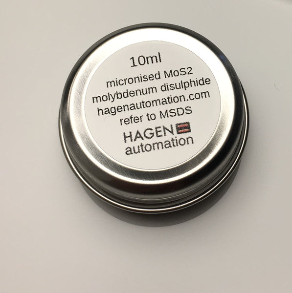 Four Powder Lubricant tins WS2 x 10ml , MoS2 x 10ml , hBN x 10ml and PTFE x 10ml